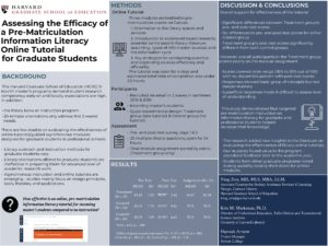 """Assessing the Efficacy of a Pre-Matriculation Information Literacy Online Tutorial for Graduate Students"" poster."