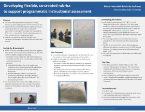 """Developing Flexible, Co-Created Rubrics to Support Programmatic Instructional Assessment"" poster."