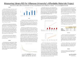 """""""Measuring Library ROI for Villanova University's Affordable Materials Project"""" poster."""