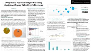 """Pragmatic Assessment for Building Sustainable and Effective Collections"" poster."