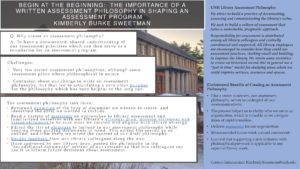 """""""Begin at the Beginning: The Importance of a Written Assessment Philosophy in Shaping an Assessment Program"""" poster."""
